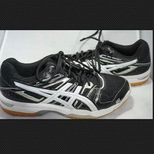 ASICS gel rocket men's black white shoes Sz 8
